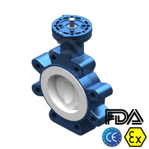 Fully PTFE Lined Performance 6 Inch TTV Butterfly Valves FDA Approved