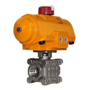 Heavy Duty Screwed Stainless Steel Actuated Ball Valve Hytork Actuator