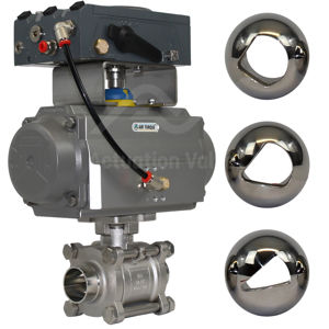Hygienic Weld OD Electro Pneumatic V-Ball Control Valves Cavity Filled
