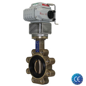 Lugged Aluminium Bronze Electric Actuated Koei Butterfly Valves TTV