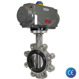 Lugged Stainless Steel Pneumatic Actuated Butterfly Valve Soft Seat