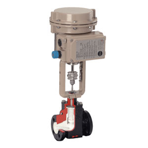 PTFE PFA Lined Microflow Globe Control Valves PN10 Rated Cast Iron 6A