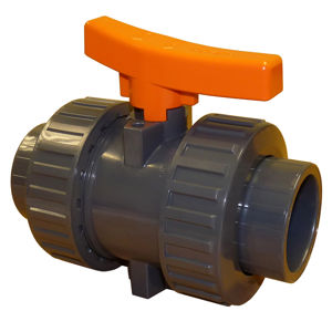 Plain Ends Double Union Plastic PVC-U Ball Valves Lever Operated EPDM