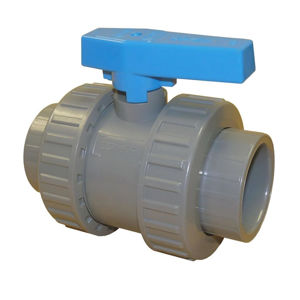 Plain Ends Double Union Plastic ABS Ball Valves Lever Operated EPDM