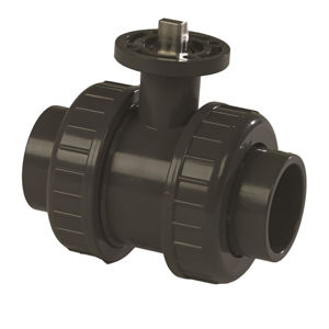 Plain Ends Double Union Plastic PVC-U Ball Valves Direct Mount Teflon