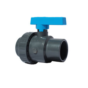 Plain Ends Single Union Plastic PVC-U Ball Valves Lever Operated EPDM