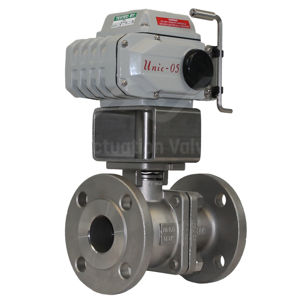 SS Electric Actuated Water Valves FB Unic Koei With Override PTFE Seat