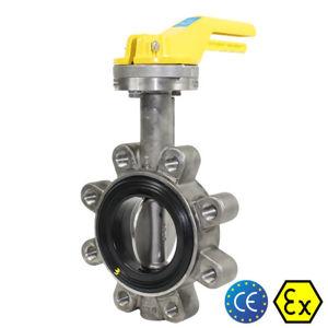 SS Lugged Pattern CF8M 2 Inch Butterfly Valves Atex Approved 316 Shaft