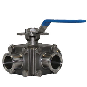Sanitary 3-Way SS Tri Clamp End Ball Valves Cavity Filled PTFE Seat