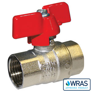 Screwed BSPP Brass Ball Valves Butterfly Handle Wras Approved
