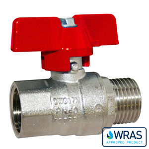 Screwed BSPP MXF Brass Ball Valves Butterfly Handle Wras Approved