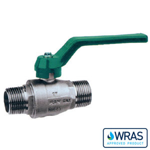 Screwed BSPP MXM Brass Ball Valves Green Lever Wras Long Pattern