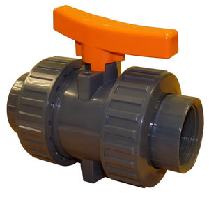 Screwed BSPT Double Union Plastic PVC-U Industrial Ball Valves Teflon