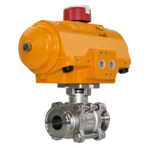 Tri Clamp Hygienic Stainless Steel Actuated Ball Valve Hytork 3PCE FB