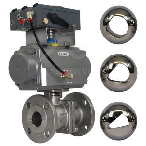 V-Port Flow Control Electro-Pneumatic PN16 FB CF8M Actuated Ball Valve