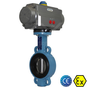 Wafer Carbon Steel WCB Air Actuated Butterfly Valves Soft Seat TTV