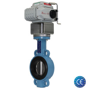 Wafer Ductile Iron Electric Koei Actuated Butterfly Valves Rubber Line