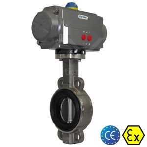 Wafer Ductile Stainless Steel Air Actuated Butterfly Valves Soft Seat