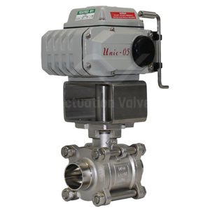 Weld OD Hygienic Stainless Steel Electric Actuated Ball Valves 400 PSI
