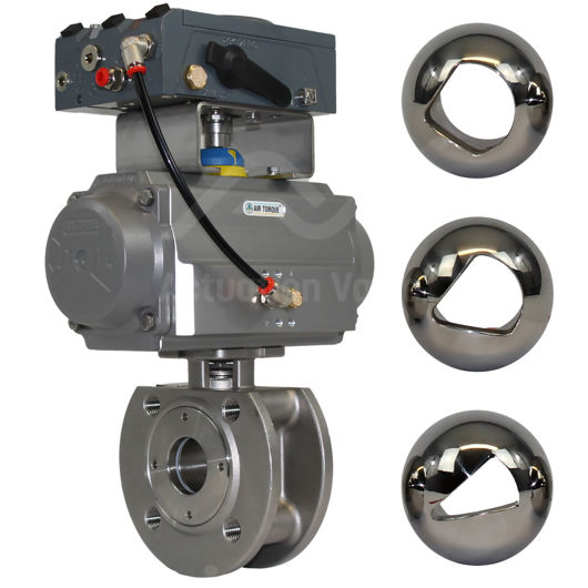 Wafer Pattern Full Bore Stainless Steel V-Sector Actuated Ball Valves