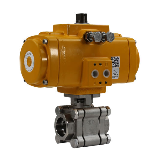 Socket Weld Heavy Duty SS Air Actuated Ball Valves Elomatic Actuator