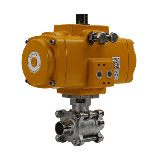 Weld OD Hygienic Stainless Steel Elomatic Air Operated Ball Valves FB