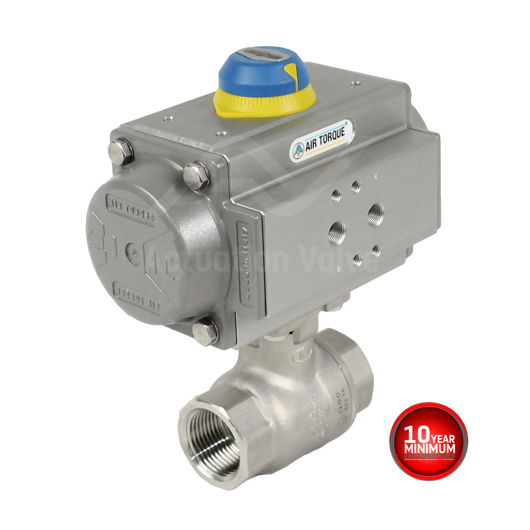 Screwed Stainless Steel Pneumatic Actuated Ball Valve 2 PCE Full Bore
