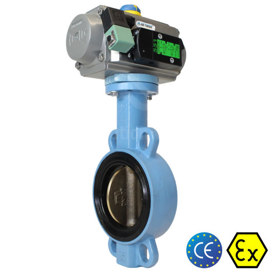 Wafer Ductile Cast Iron Pneumatic Actuated Butterfly Valves Soft Seat