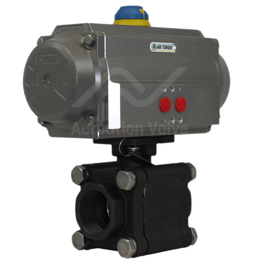 Screwed Heavy Duty Carbon Steel Pneumatic Actuated Ball Valve 3 PCE