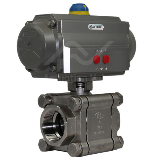 Heavy Duty Screwed Stainless Steel Pneumatic Actuated Ball Valve 2 PCE