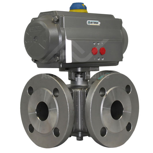 3-Way ANSI 150 Full Bore Stainless Steel Pneumatic Actuated Ball Valve