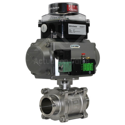 Tri Clamp Hygienic Stainless Steel Pneumatic Actuated Ball Valve