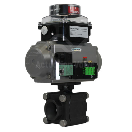 Welded Heavy Duty Carbon Steel Pneumatic Actuated Ball Valve 3 PCE