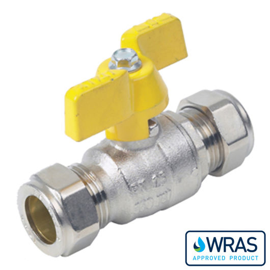 Compression Ends Brass Ball Valves Butterfly Handle Wras Approved