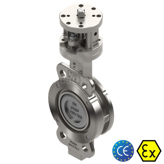 Double Offset High Performance CF8M SS TTV 300MM Butterfly Valves Atex