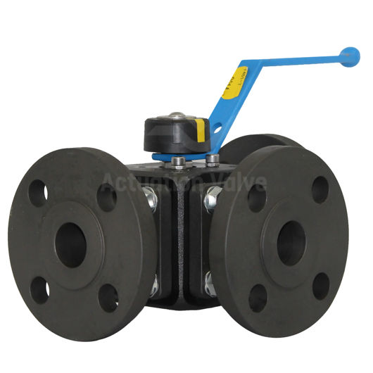Flanged ANSI 150 3-Way Starline Ball Valves Carbon Steel Reduced Bore