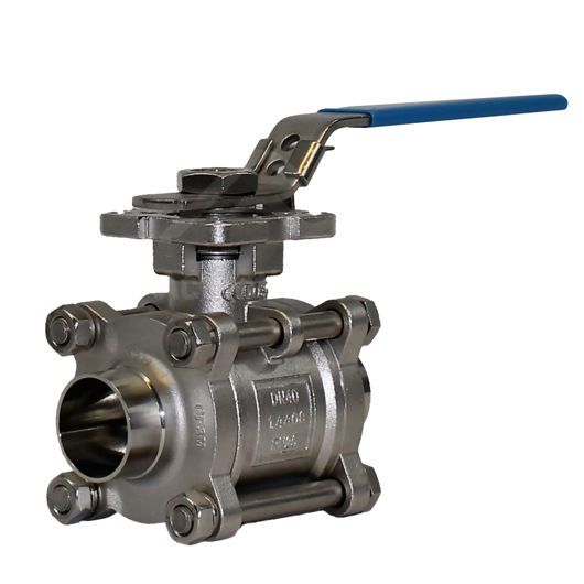 Hygienic 3PCE Full Bore Ball Valves Weld OD Ends Cavity Filled Seat