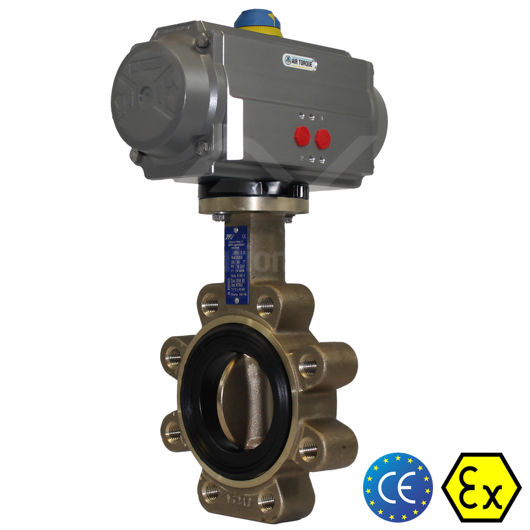 Lugged Aluminium Bronze Pneumatic Actuated Butterfly Valve Soft Seat