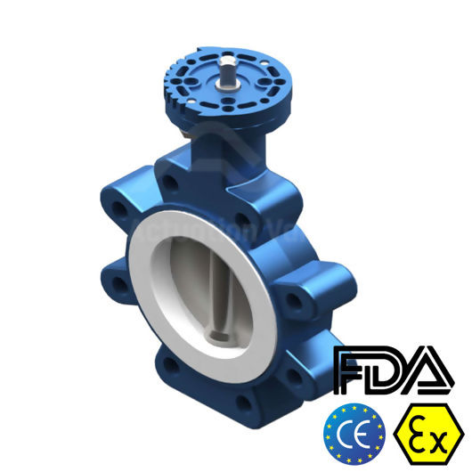 PTFE Seat SS Disc Lugged Pattern 6 Inch Butterfly Valves Atex Approved