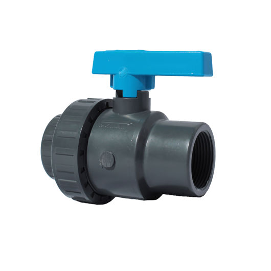 Screwed BSPT Single Union Plastic PVC-U Ball Valves Lever Operated