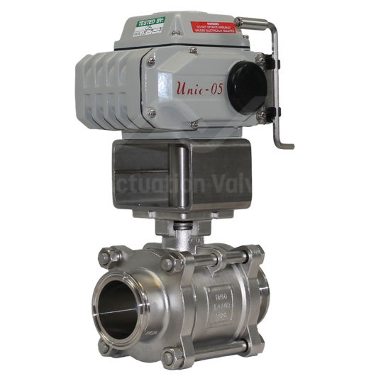 Tri Clamp Hygienic Stainless Steel Electric Actuated Ball Valves 3 PCE