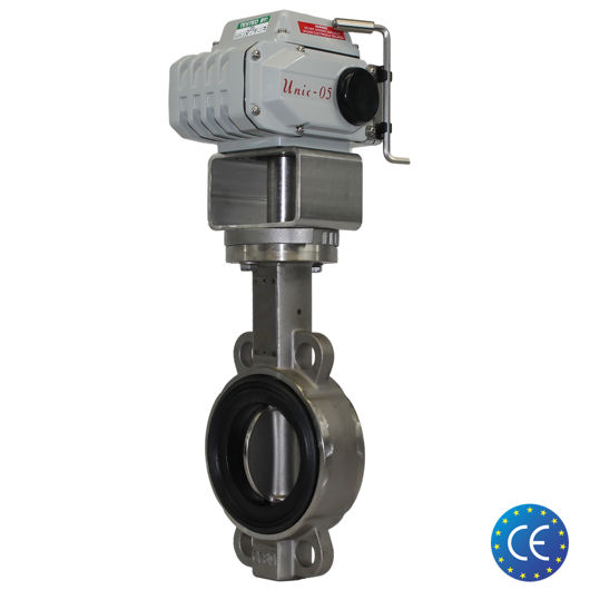 Wafer Stainless Steel Koei Unic Electric Butterfly Valves Actuated