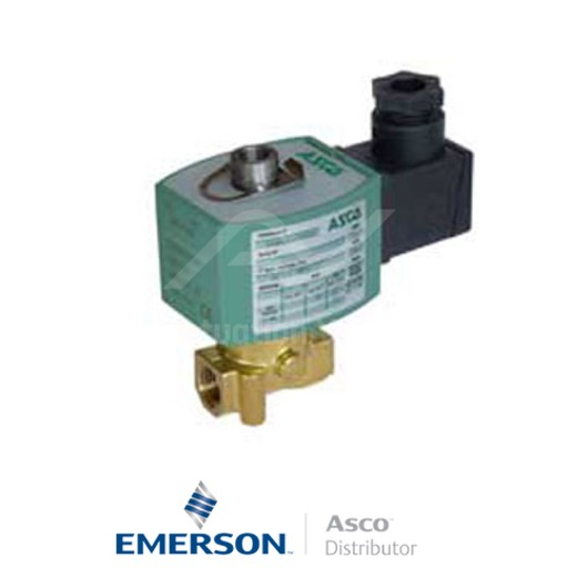 "0.25"" BSPP E314K054S1N00F8 Asco General Service Solenoid Valves Direct Acting 230 VAC Stainless Steel"