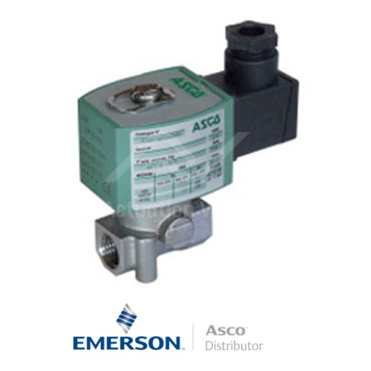 "0.125"" BSPP E262K214S1W00F8 Asco Numatics General Service Solenoid Valves Direct Acting 230 VAC Brass"
