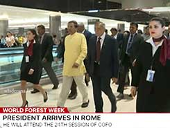 President arrives at Fuimicino International Airport in Rome (English)