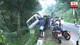 Tipper truck veers off road and topples at Hali-Ela
