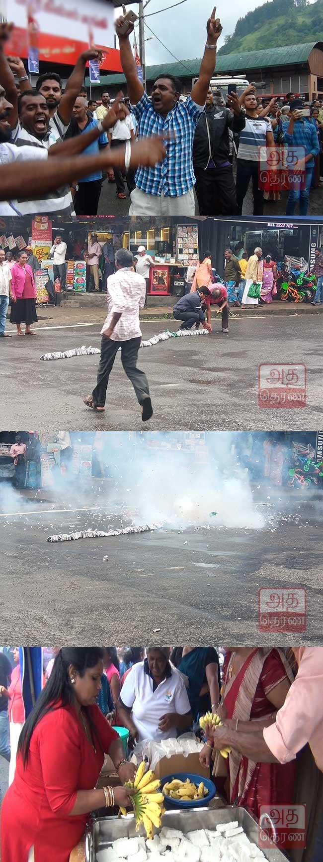 ஜனாதிபதி வேட்பாளராக கோட்டாபய அறிவிக்கப்பட்ட பின் மக்கள் கொண்டாட்டங்களில்