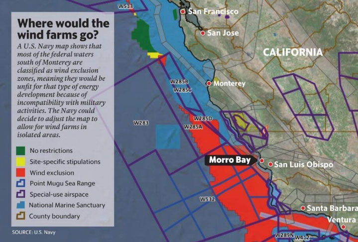 Map of proposed wind farm off Morro Bay
