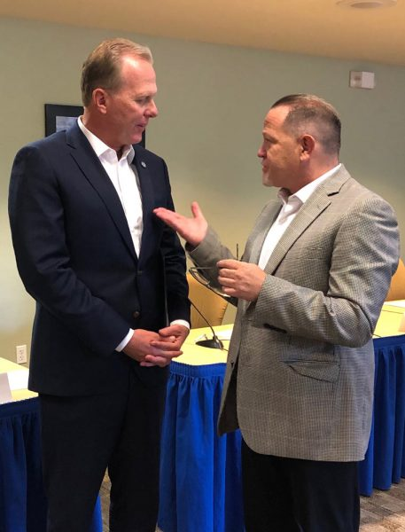 Supervisor Adam Hill speaking with San Diego Mayor Kevin Faulconer
