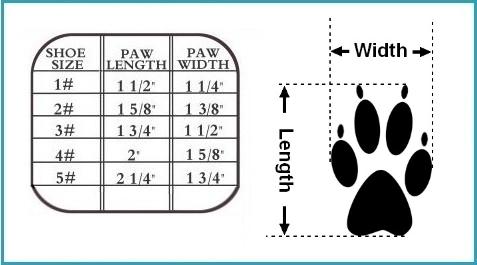 designer dog boot size chart